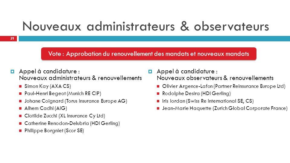 Nouveaux administrateurs & observateurs