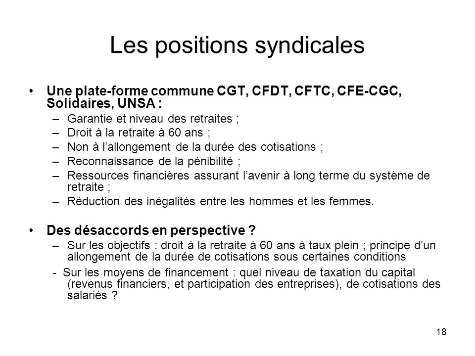 Les positions syndicales