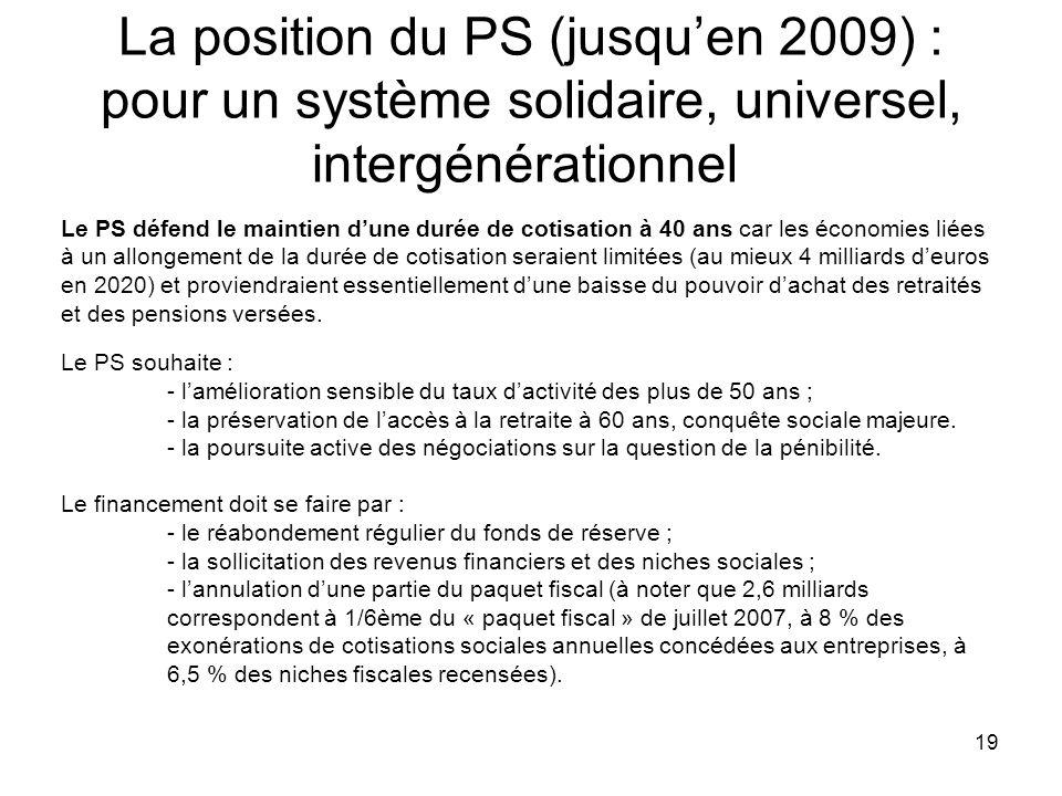 La position du PS (jusqu'en 2009) : pour un système solidaire, universel, intergénérationnel