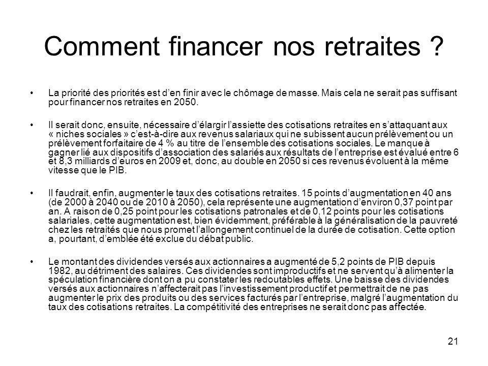 Comment financer nos retraites