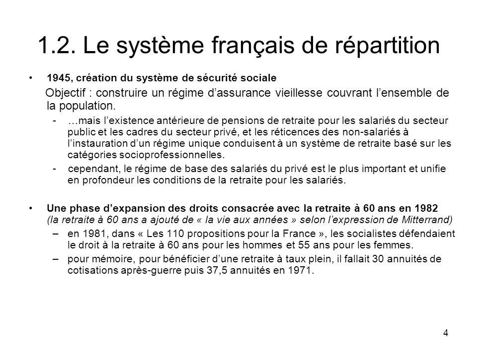 1.2. Le système français de répartition