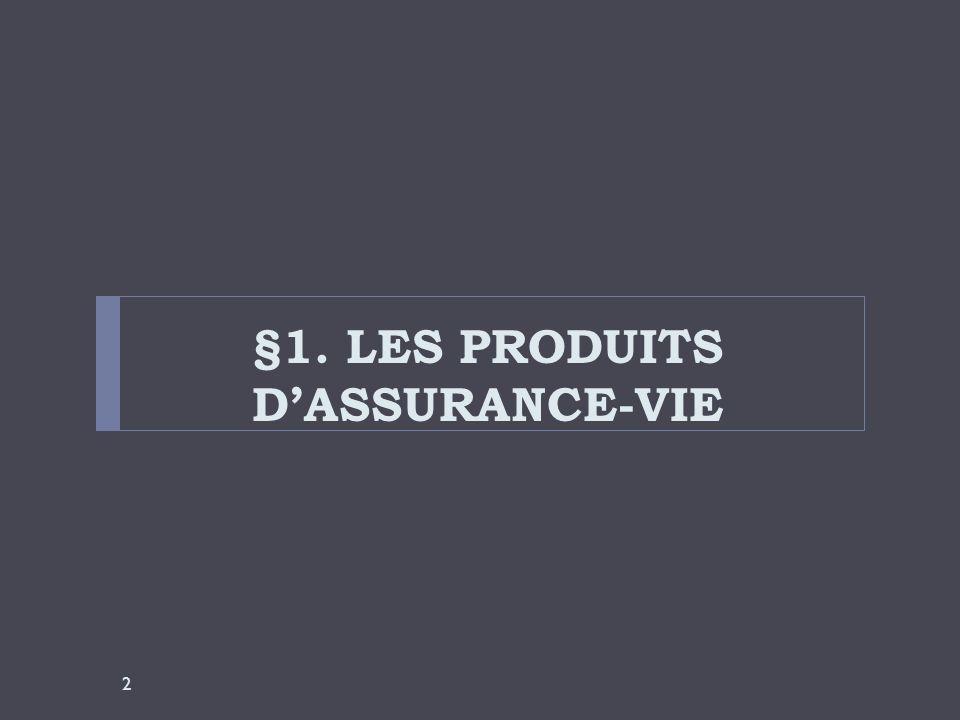 §1. LES PRODUITS D'ASSURANCE-VIE