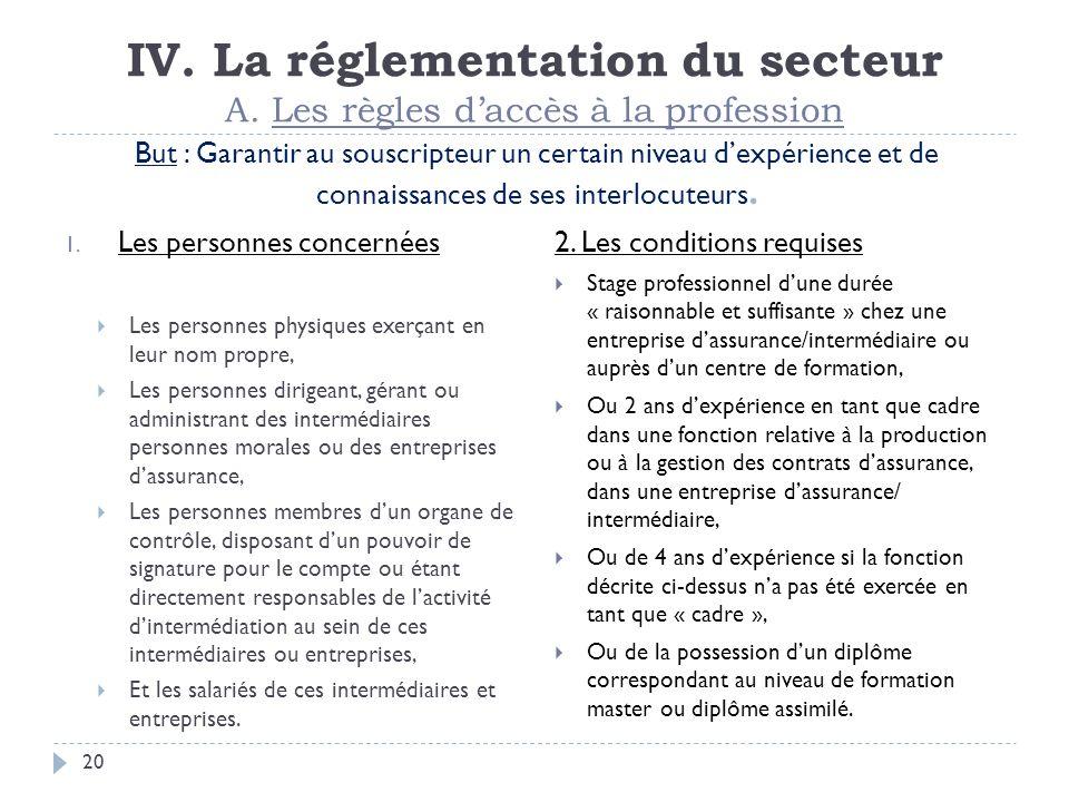 IV. La réglementation du secteur A. Les règles d'accès à la profession