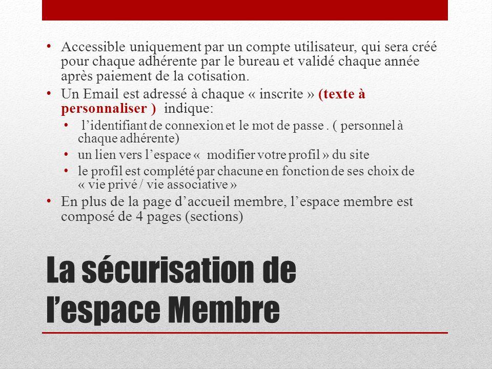 La sécurisation de l'espace Membre