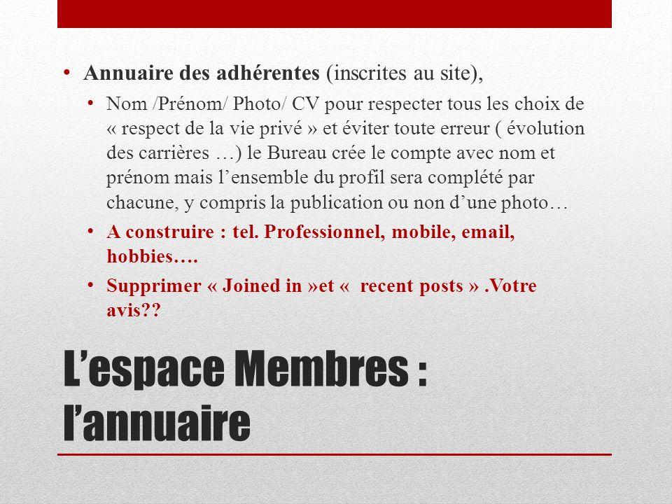 L'espace Membres : l'annuaire
