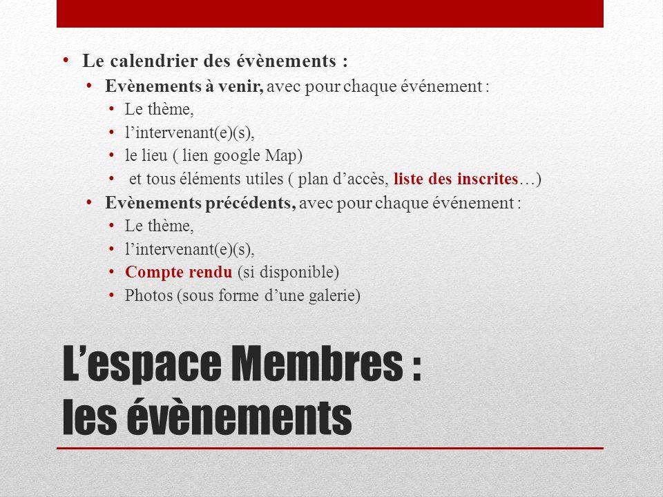 L'espace Membres : les évènements