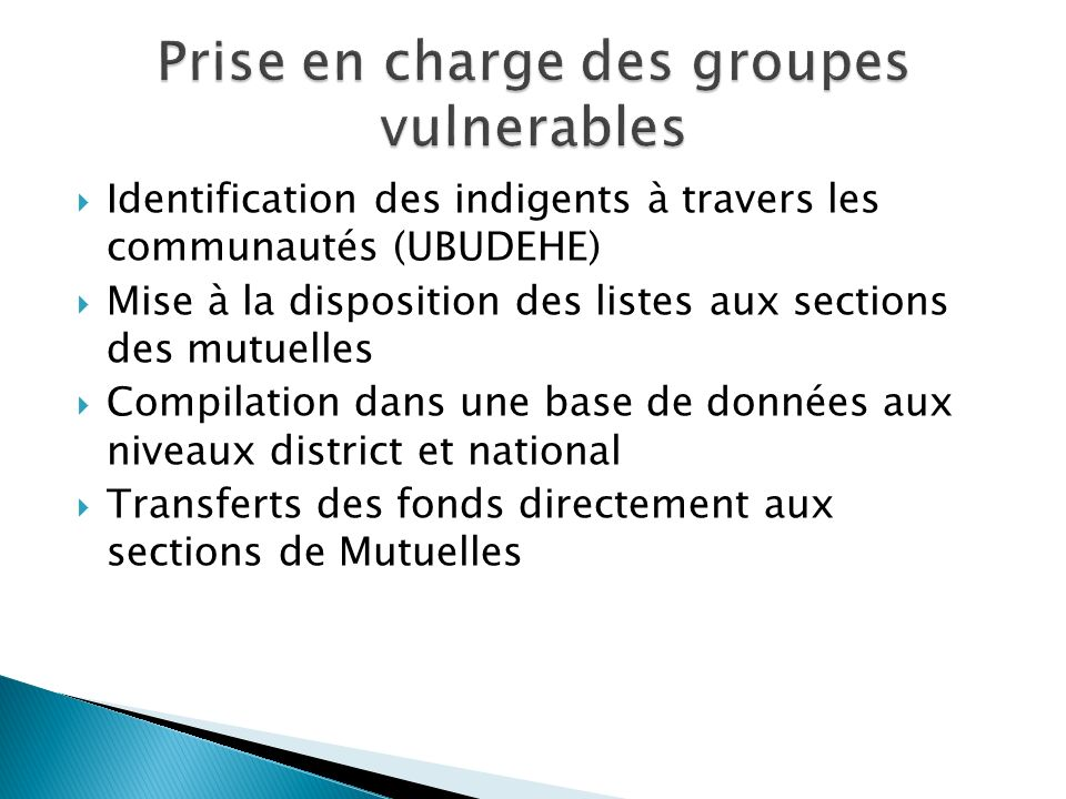 Prise en charge des groupes vulnerables