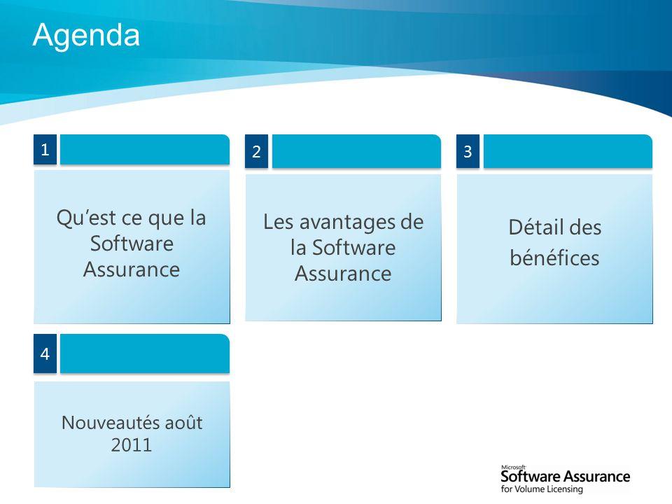 Agenda Qu'est ce que la Software Assurance