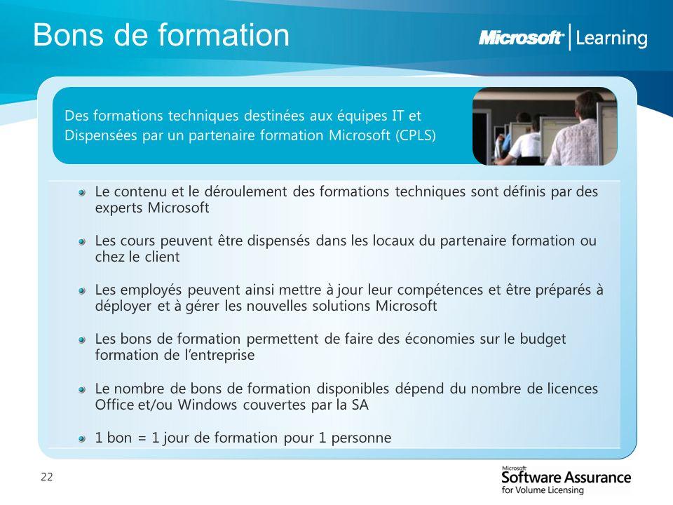 Bons de formation Des formations techniques destinées aux équipes IT et. Dispensées par un partenaire formation Microsoft (CPLS)