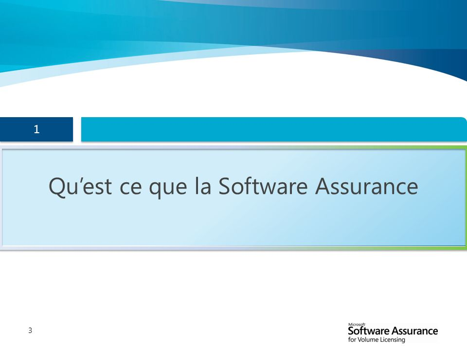 Qu'est ce que la Software Assurance