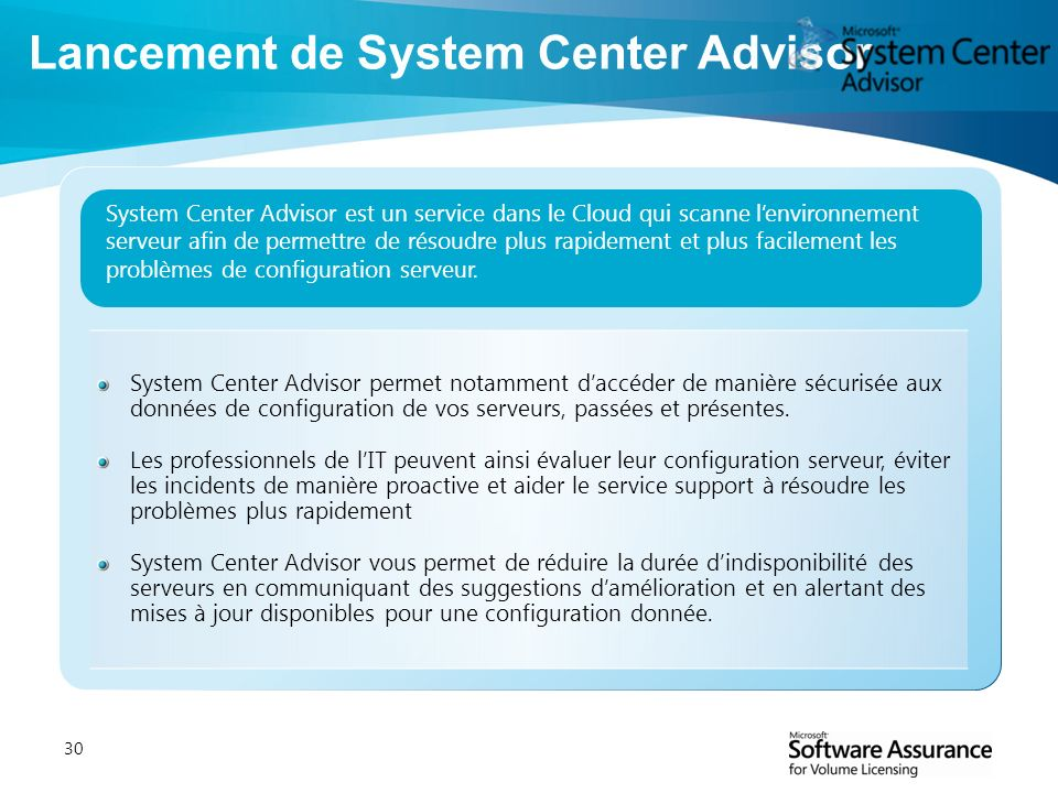 Lancement de System Center Advisor