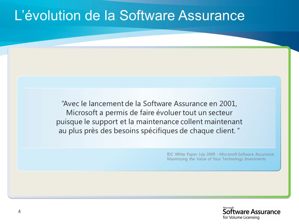 L'évolution de la Software Assurance