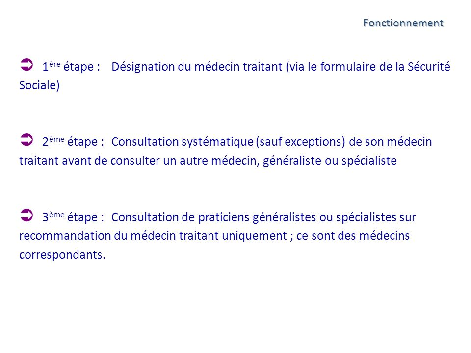 Fonctionnement 1ère étape : Désignation du médecin traitant (via le formulaire de la Sécurité Sociale)