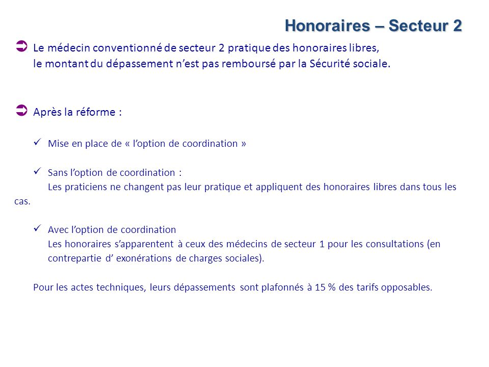 Honoraires – Secteur 2