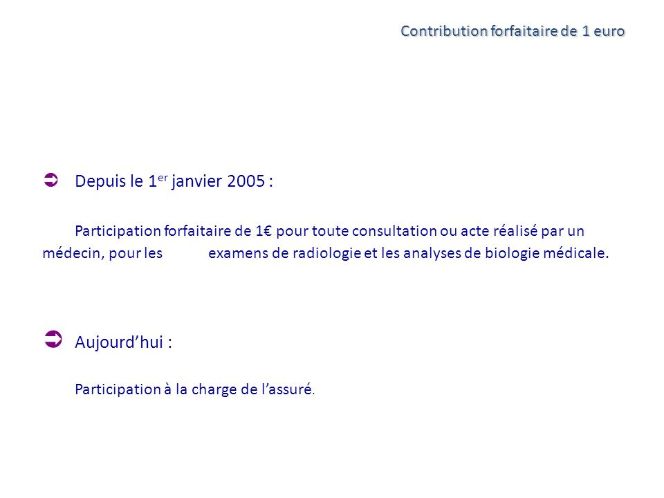 Aujourd'hui : Contribution forfaitaire de 1 euro