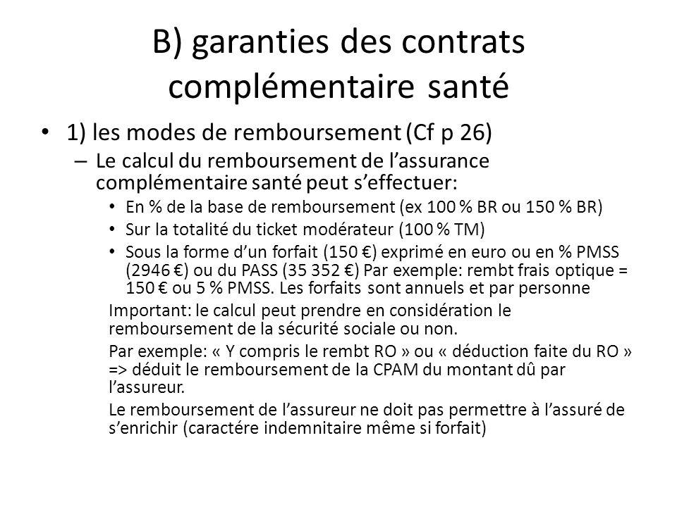 B) garanties des contrats complémentaire santé