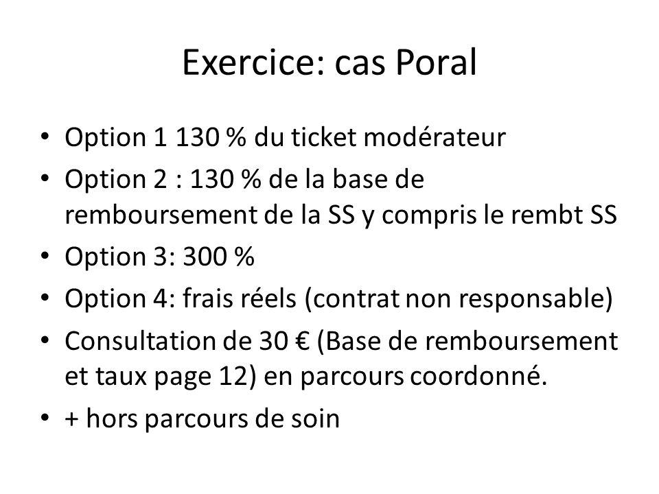 Exercice: cas Poral Option 1 130 % du ticket modérateur