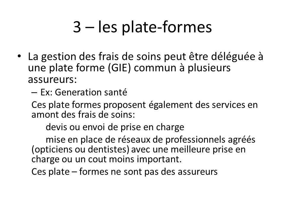 3 – les plate-formes La gestion des frais de soins peut être déléguée à une plate forme (GIE) commun à plusieurs assureurs: