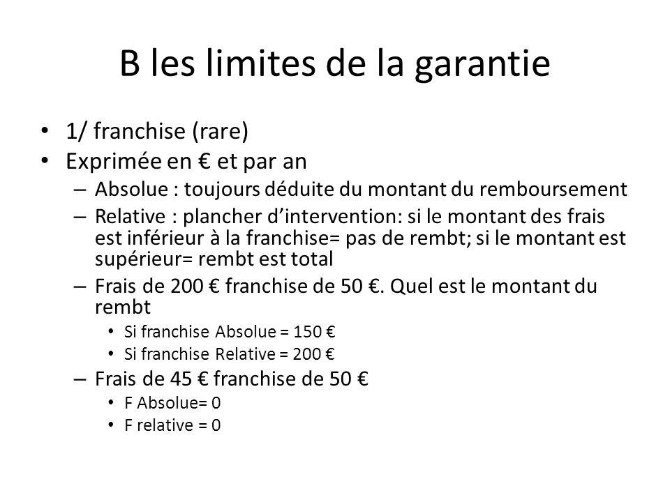 B les limites de la garantie