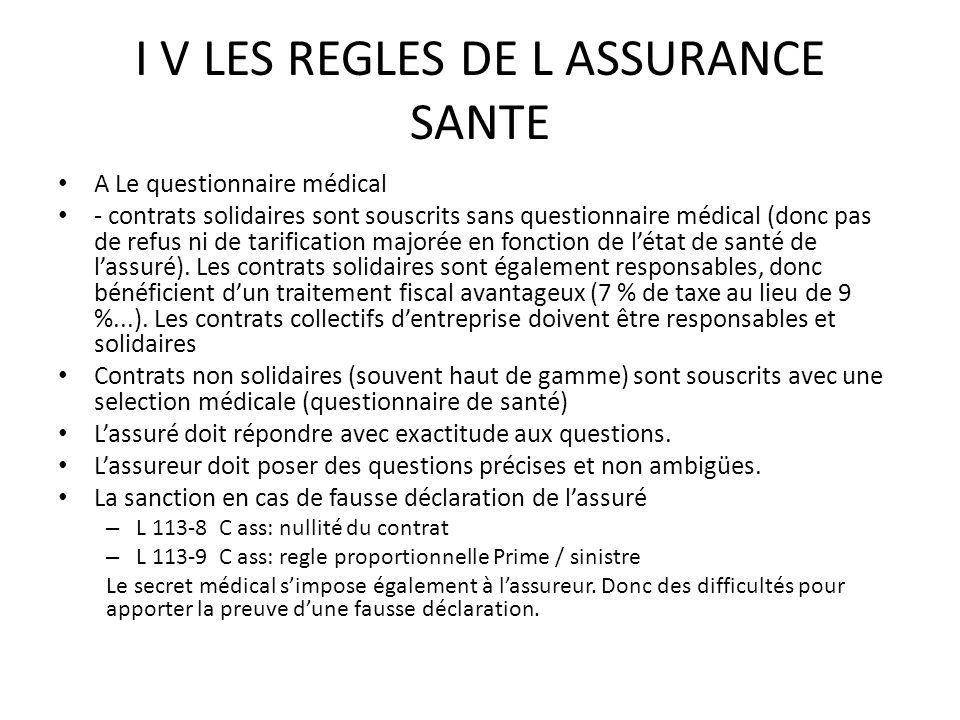 I V LES REGLES DE L ASSURANCE SANTE