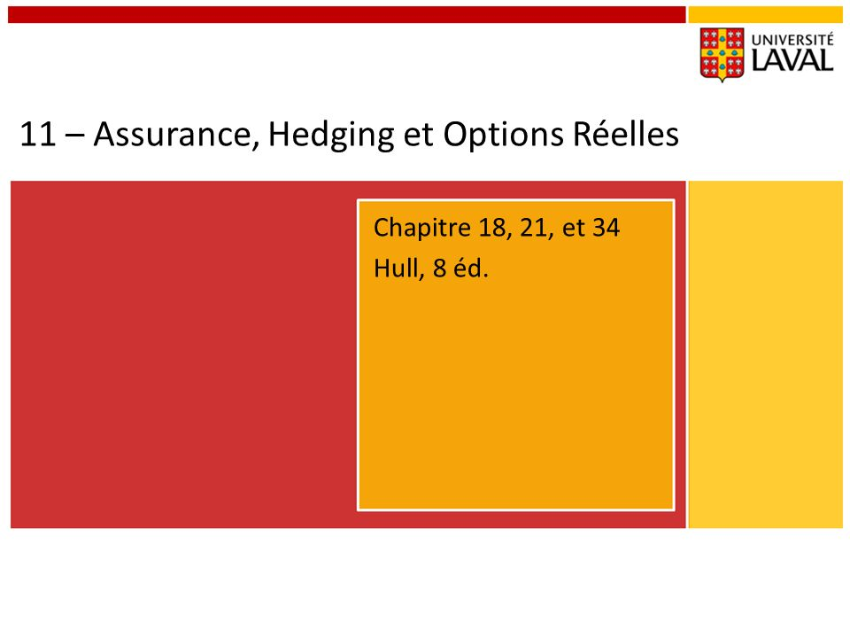 11 – Assurance, Hedging et Options Réelles
