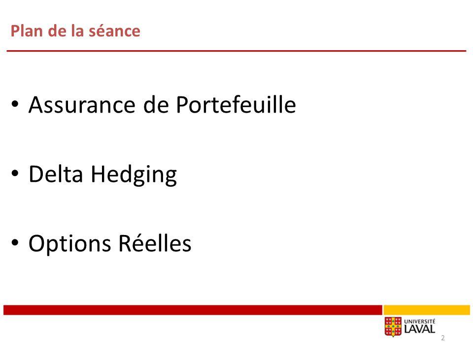 Assurance de Portefeuille Delta Hedging Options Réelles