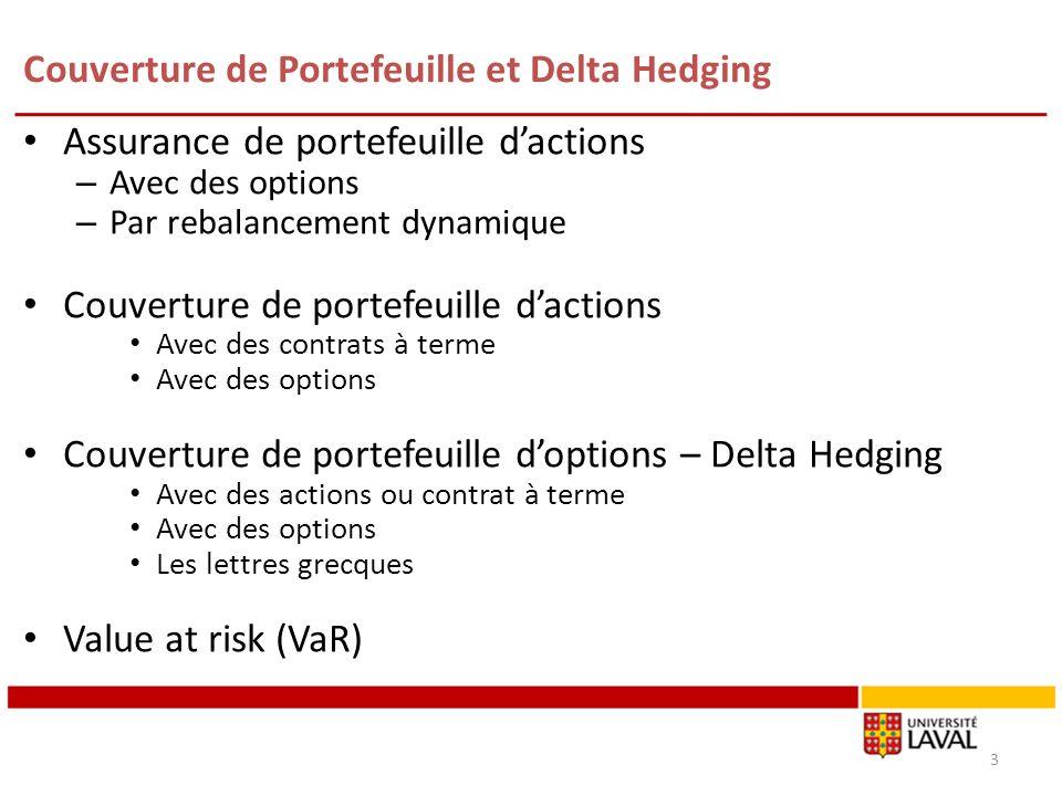 Couverture de Portefeuille et Delta Hedging