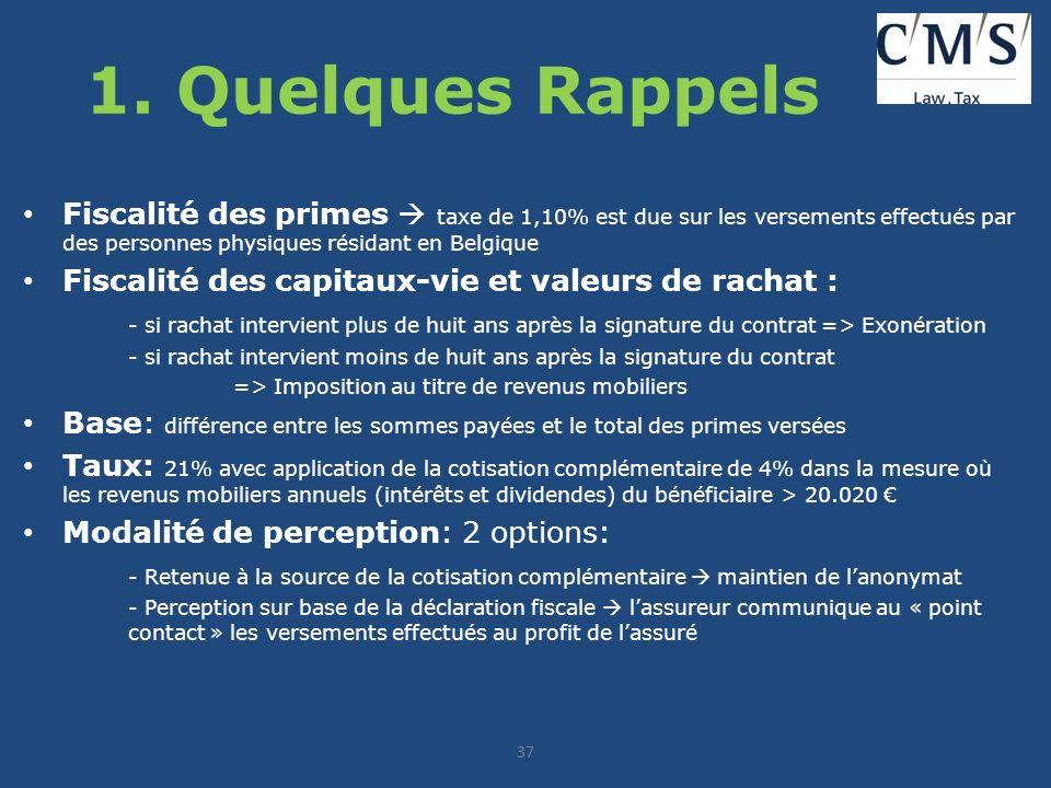 1. Quelques Rappels Fiscalité des primes  taxe de 1,10% est due sur les versements effectués par des personnes physiques résidant en Belgique.