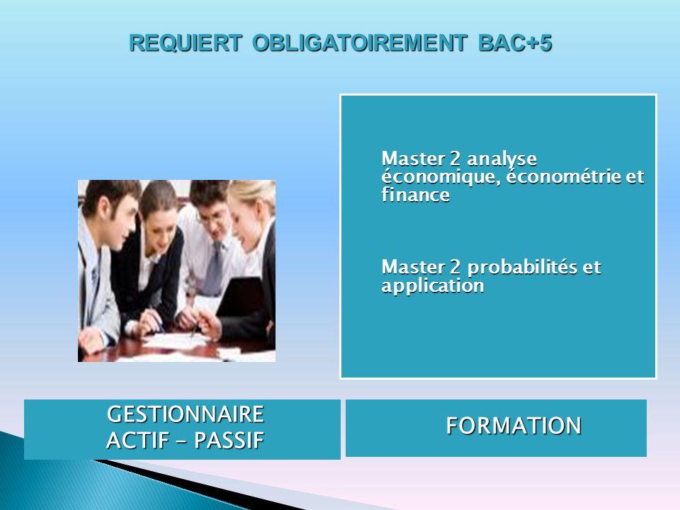 REQUIERT OBLIGATOIREMENT BAC+5 GESTIONNAIRE ACTIF - PASSIF