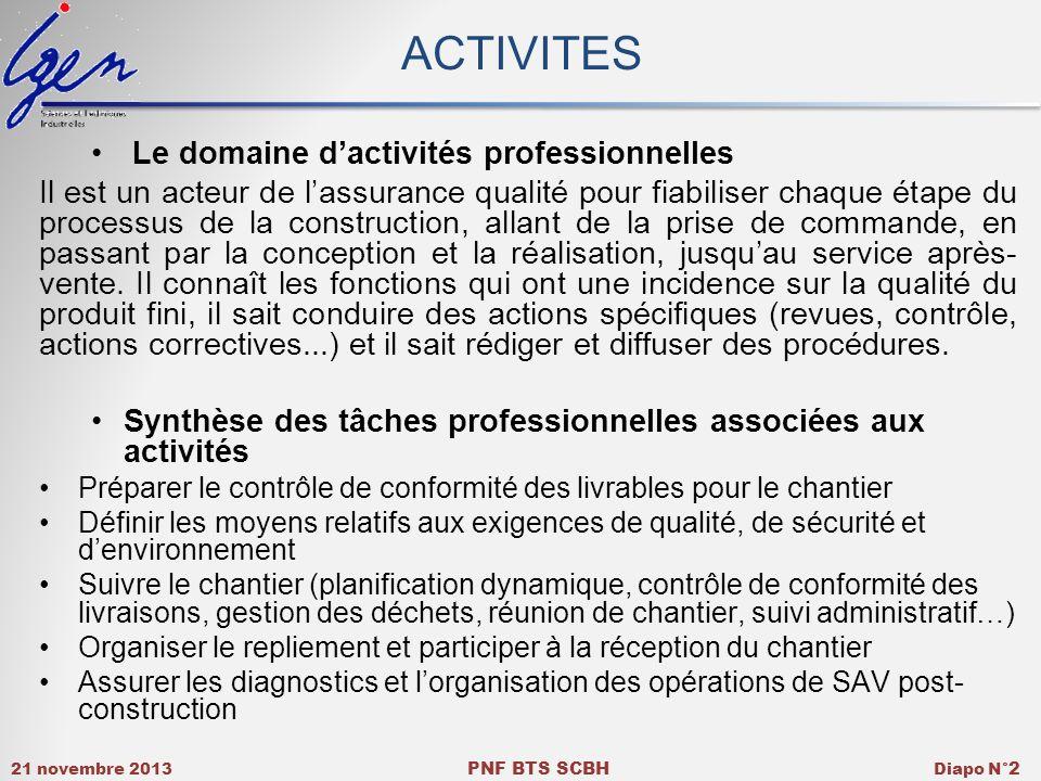 ACTIVITES Le domaine d'activités professionnelles