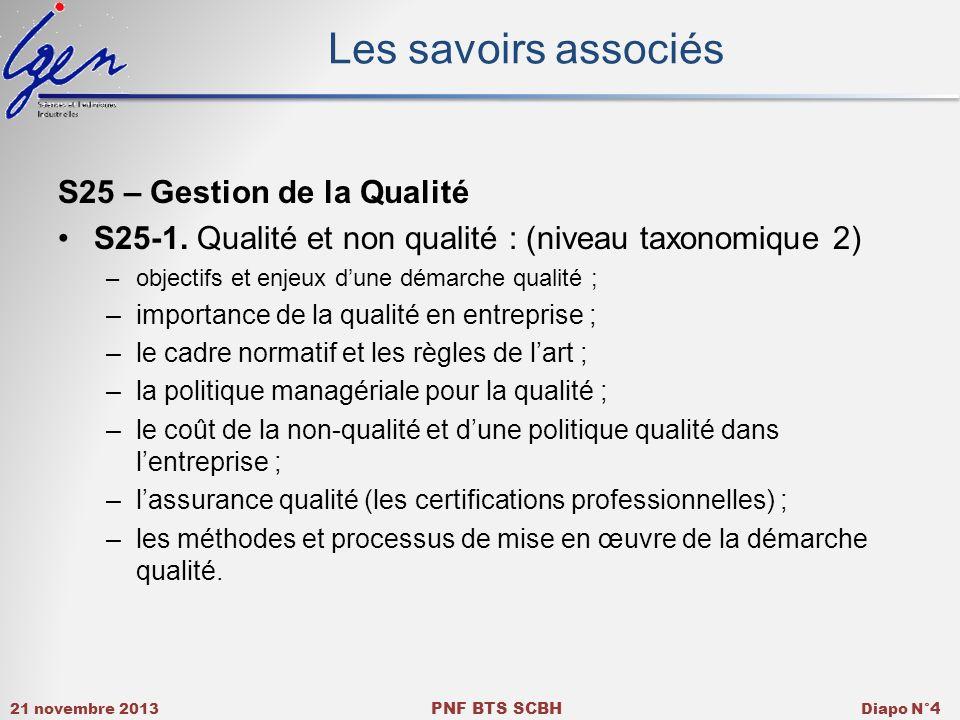 Les savoirs associés S25 – Gestion de la Qualité