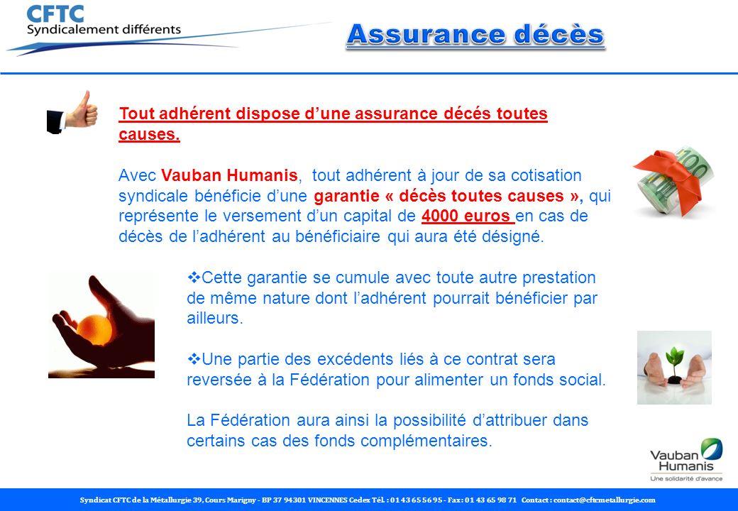 Assurance décès Tout adhérent dispose d'une assurance décés toutes causes.
