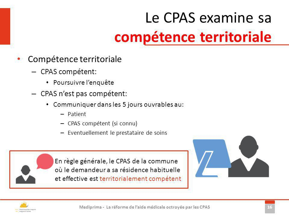 Le CPAS examine sa compétence territoriale