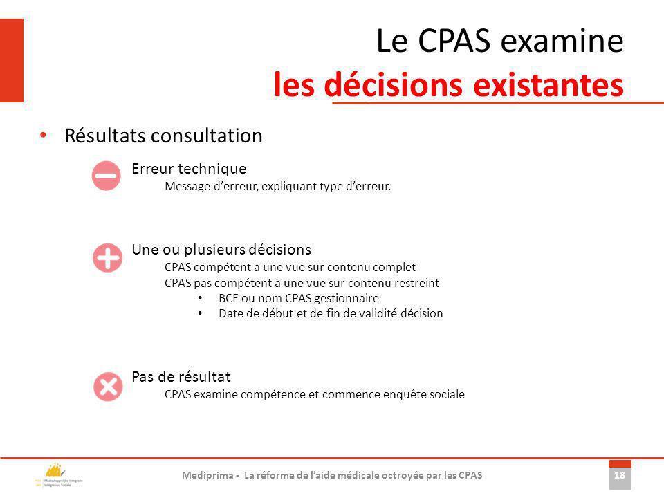 Le CPAS examine les décisions existantes