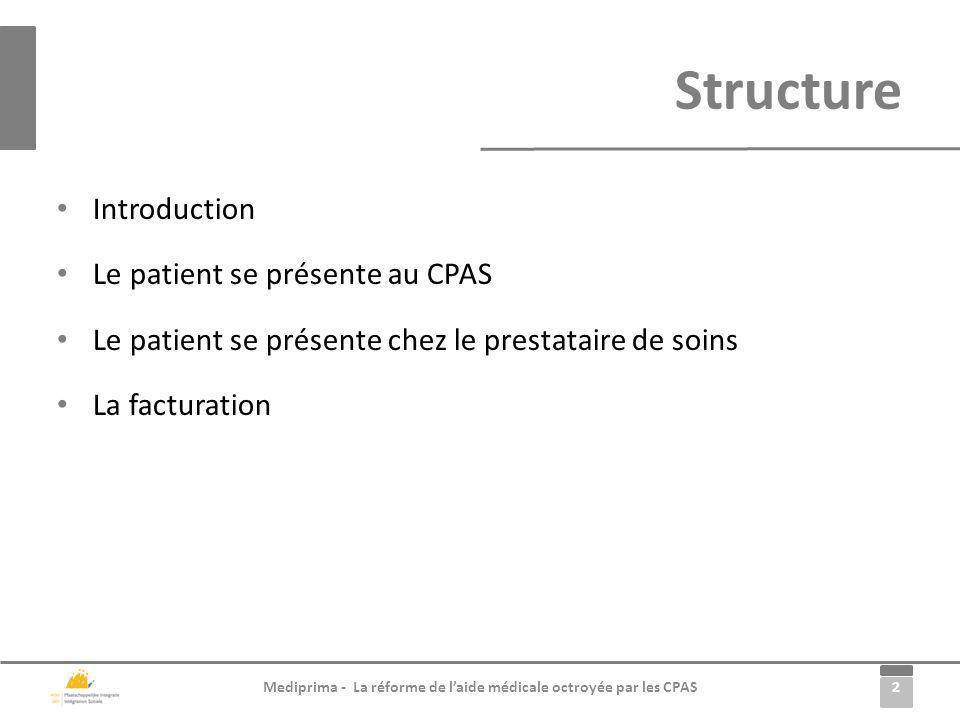 Structure Introduction Le patient se présente au CPAS