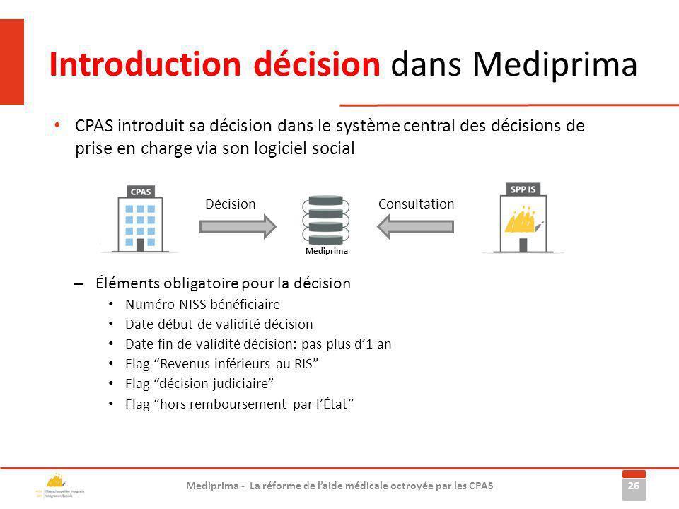 Introduction décision dans Mediprima
