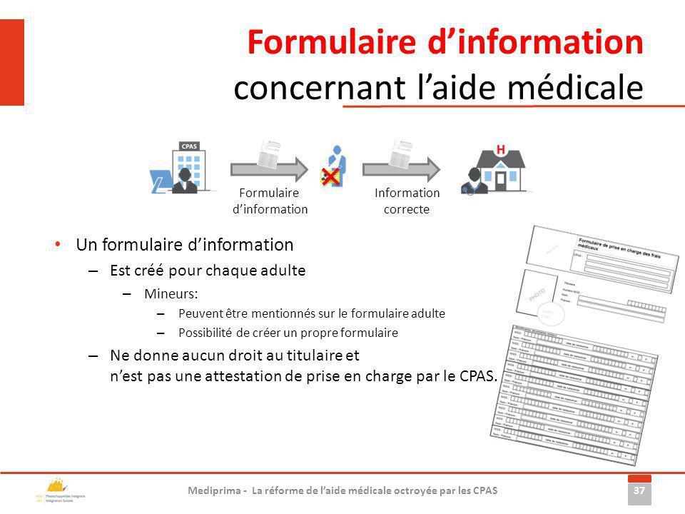 Formulaire d'information concernant l'aide médicale