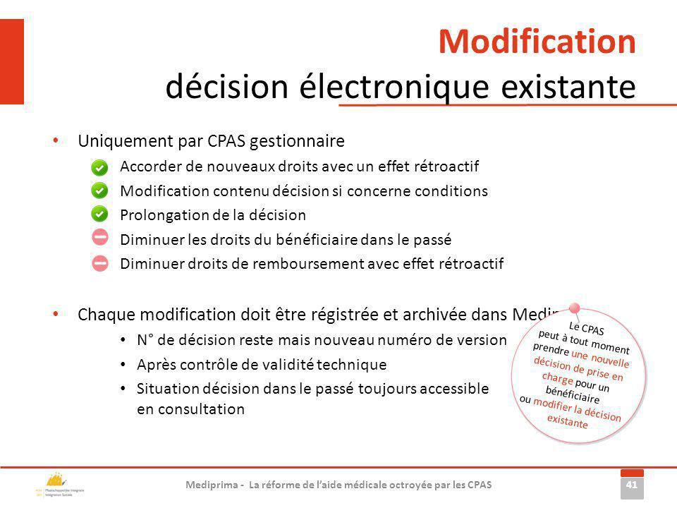 Modification décision électronique existante