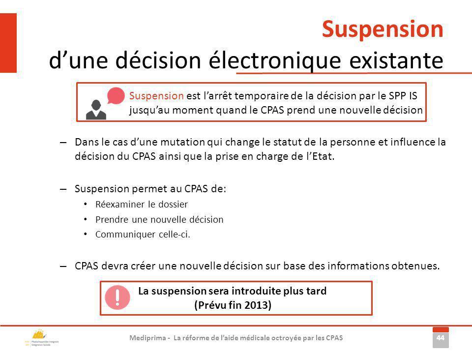 Suspension d'une décision électronique existante