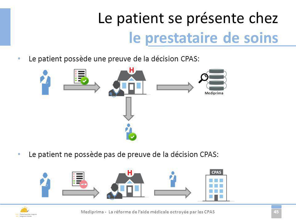 Le patient se présente chez le prestataire de soins