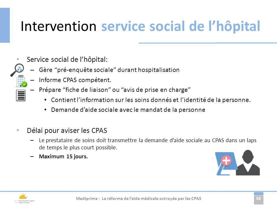 Intervention service social de l'hôpital