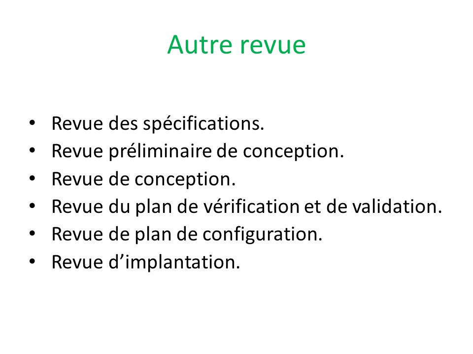 Autre revue Revue des spécifications.