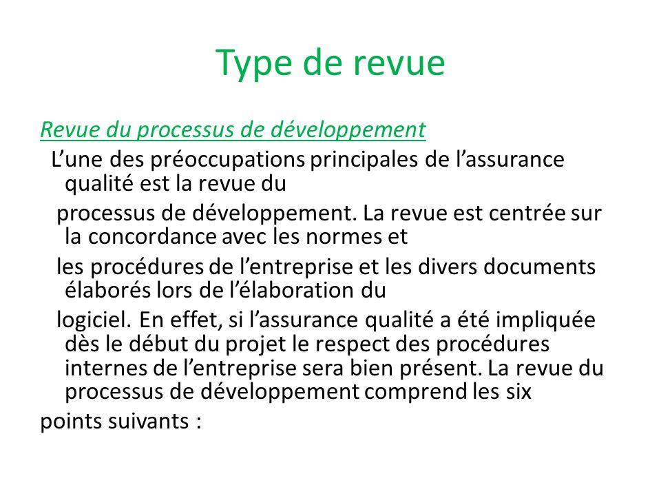 Type de revue Revue du processus de développement