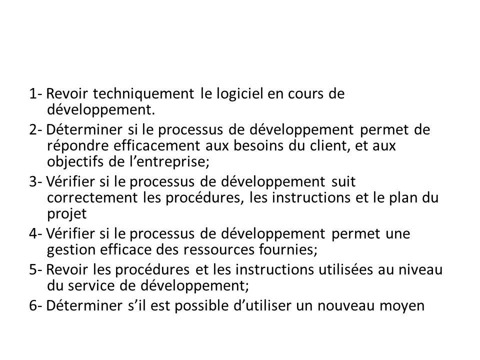 1- Revoir techniquement le logiciel en cours de développement.