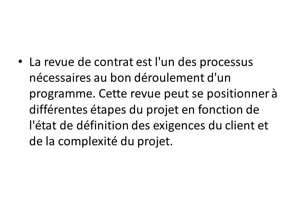 La revue de contrat est l un des processus nécessaires au bon déroulement d un programme.