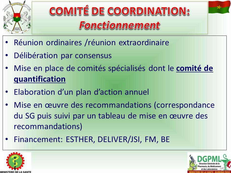 COMITÉ DE COORDINATION: Fonctionnement