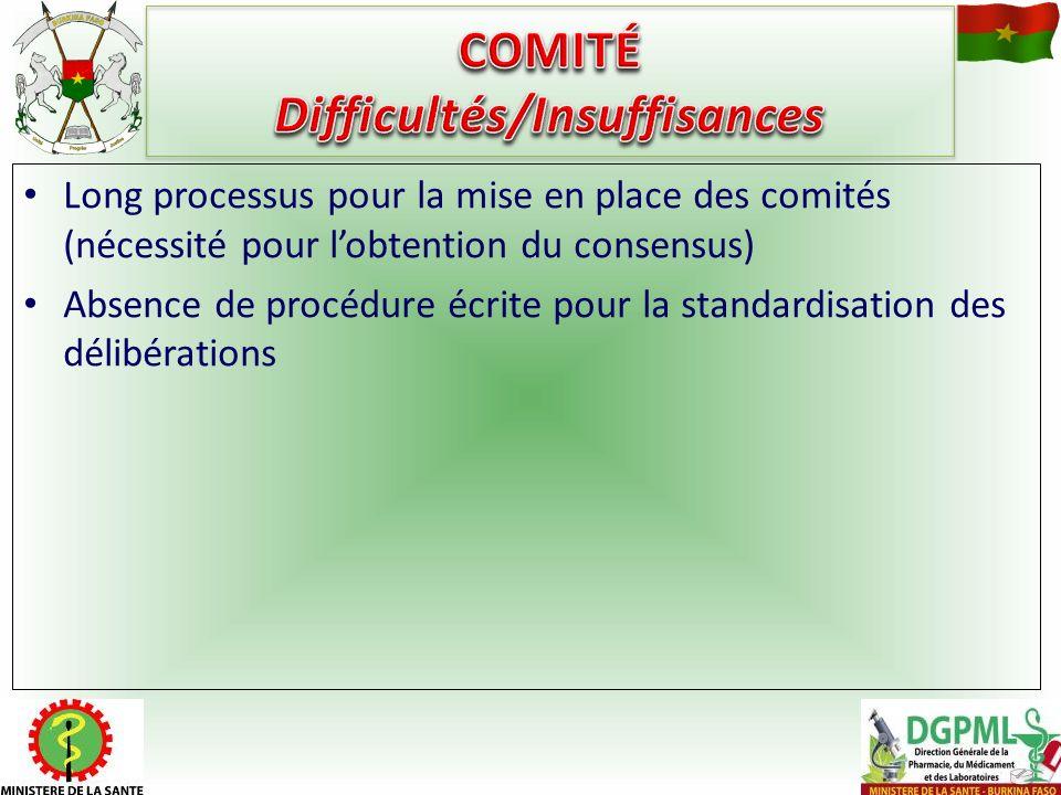 COMITÉ Difficultés/Insuffisances