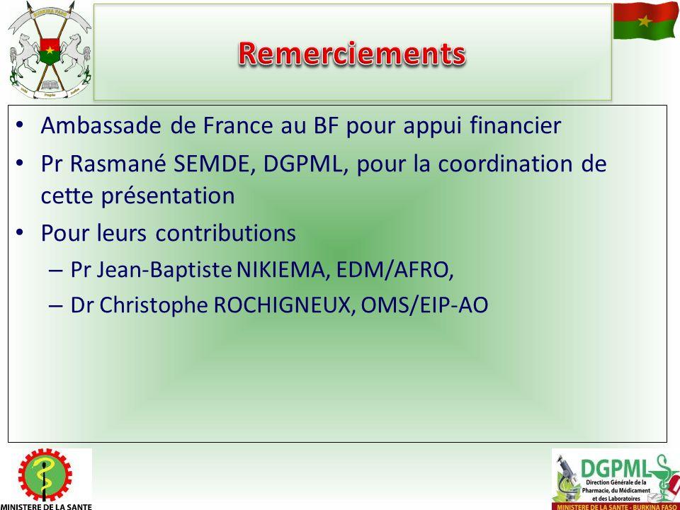 Remerciements Ambassade de France au BF pour appui financier