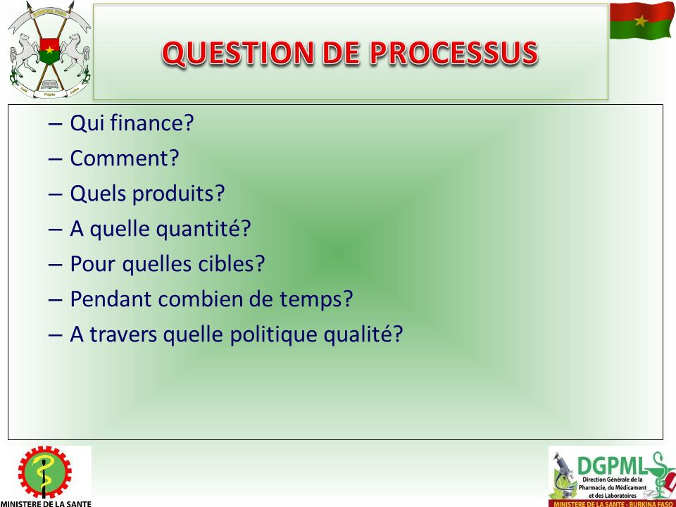 QUESTION DE PROCESSUS Qui finance Comment Quels produits