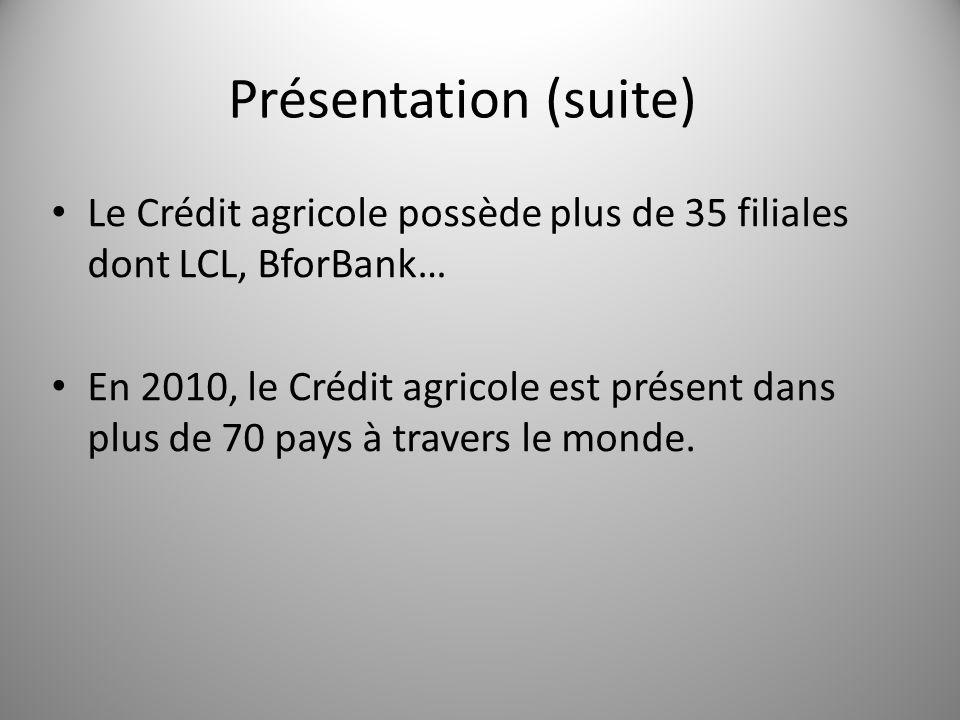 Présentation (suite) Le Crédit agricole possède plus de 35 filiales dont LCL, BforBank…